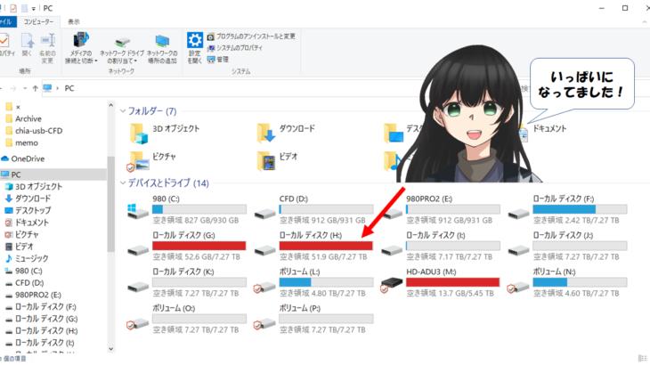 HDDがいっぱいになった時のログ