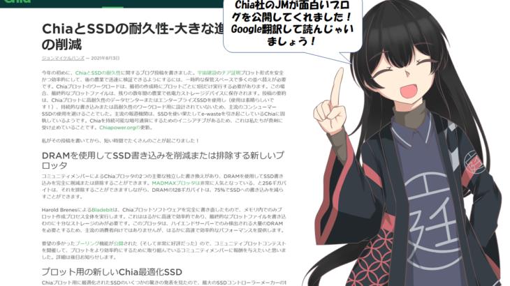 Chia社のSSD耐久性についてのブログが面白い!日本語訳で読んじゃいましょう。